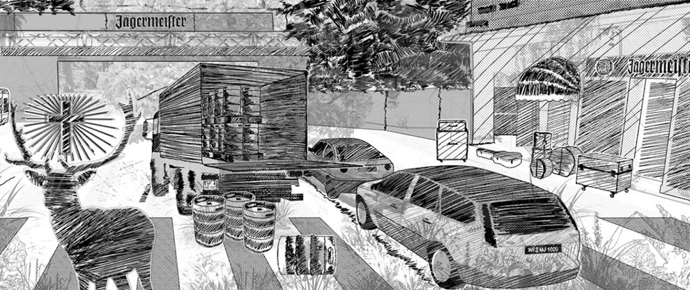 illustration, grafik, design, zeichnungen, sketch, scribble, gestaltung, waldbrand media, artwork, kunst, digital illustration, mixed media artwork, jägermeister, subway, köln, strasse, street, cars, autos, truck, hirsch, geweih, fuchs, instrumente