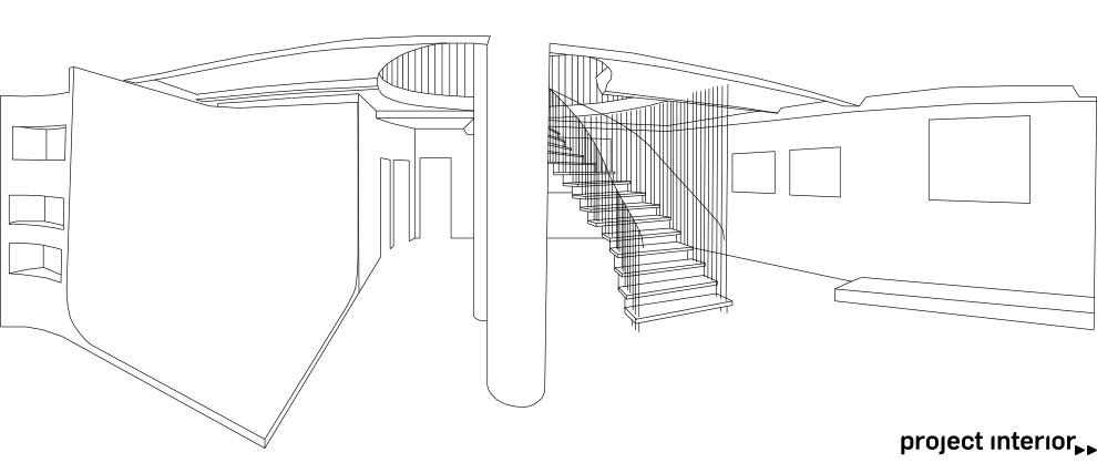 zeichnung, architektur, raum, treppen, innenraum, drawing, waldbrand media, project interior, media design, gestaltung, design