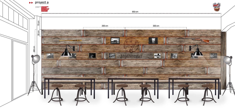 Innenraum Visualisierung, grafik, architektur, interior design, gestaltung, looks, wände, gastro, waldbrand media, jägermeister, the bird, project a
