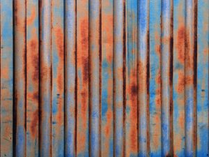 Container, frachtcontainer, wall, wand, texturen, textures, grafik, design, free stockimages, essen, ruhrgebiet, waldbrand media, rost, rusty, verrostet, lack, farbe, blau, orange